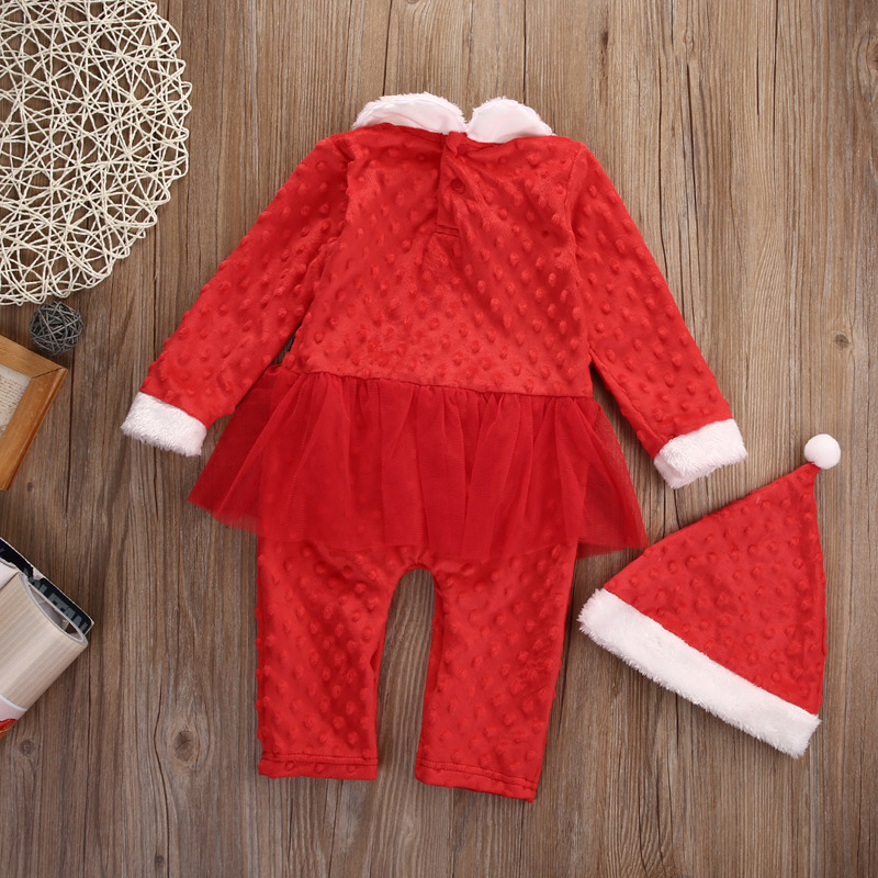 Newborn Girl Boy Christmas Santa Costume Long Sleeve Romper + Hat 2Pcs Outfit Set Baby Clothes