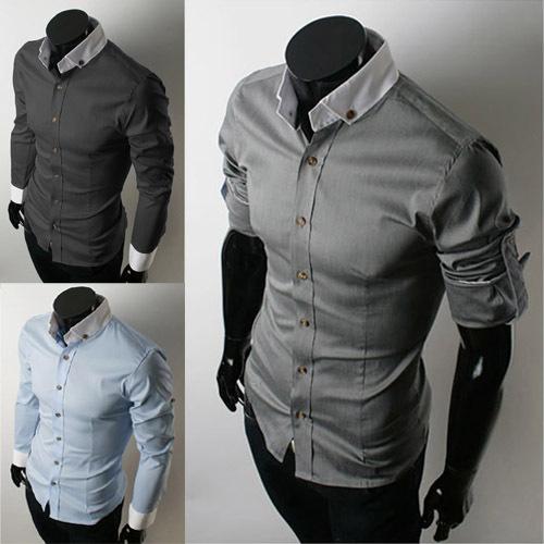 Мужская классическая рубашка New 2015 Sleevee Slim Fit Homme MC5804-M-04 мужская футболка dermay slim fit t v 6 homme m 3xl
