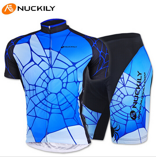 NUCKILY Brand Man New Cycling Jersey Short Sleeve Spider Bike Clothing Bicycle Shorts Ciclismo(China (Mainland))