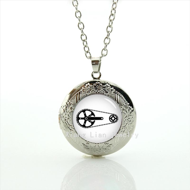Hot sale brand design locket necklace bicycle chain sprocket transmission bicycle chain bike, custom wedding groom jewelryT535(China (Mainland))