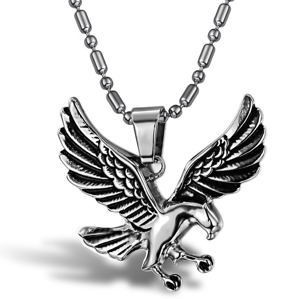 2016 new wholesale fashion jewelry boutique men's eagle bird pendant necklace titanium steel boy birthday gift free shipping(China (Mainland))