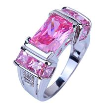 Wholesale Fashion Lady Pink Topaz White Sapphire 925 Silver Ring Size 6 7 8 9 10 Love Style Women Jewelry Free Shipping