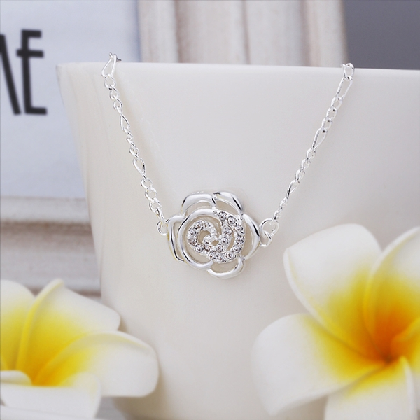 Flower Anklets 925 sterling silver chain Ankle Bracelet, Romantic Plant Flower Pendant tobillera Jewellery 925 silver(China (Mainland))