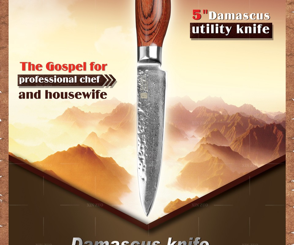"""Buy 2015 New 73 layers 5"""" utility knife Japanese Damascus steel kitchen knife fruit knife with Color wood handle free shipping cheap"""