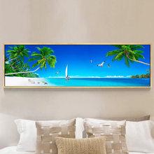 Langit Biru Seascape Beach Kanvas Lukisan Cetak Di Poster Dinding Dekorasi Rumah Cuadros Kanvas Gambar untuk Ruang Tamu Tanpa Bingkai(China)