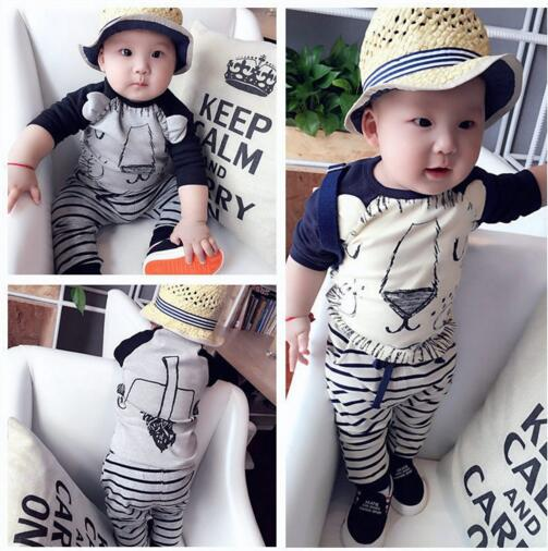 Wholesale 2016 Newest Fashion baby clothing baby long sleeve clothing sets Lion design Baby top+striped pant(China (Mainland))