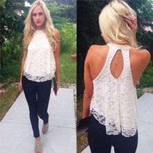 Fashion Women summer Lace Floral vest shirts Sexy Backless Casual Loose T-Shirt Tops free shipping(China (Mainland))