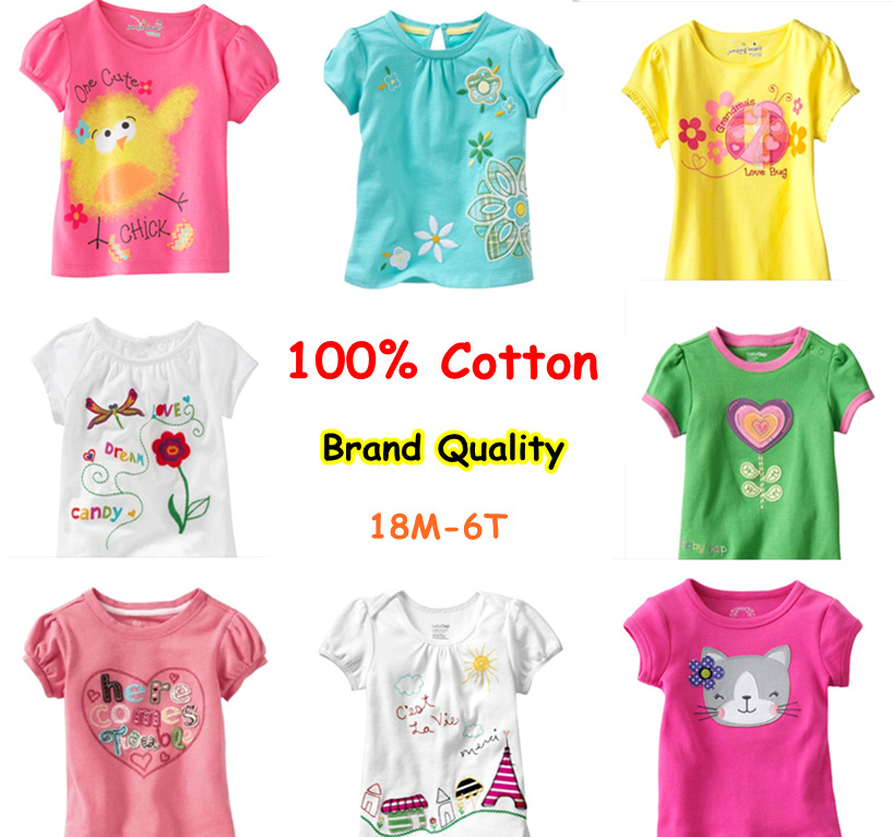 Retail Brand 2015Cotton Girls T shirts For Baby Girl Summer Short Sleeve Childrens Kids Chothes Blouse T-shirts Free Shipping(China (Mainland))