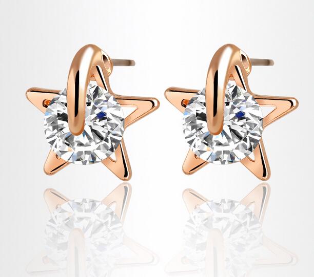 Gorgeous Lucky star Free shipping new CZ diamond 925 sterling Silver jewelry stud Earrings fine jewelry Charm earrings for Women<br><br>Aliexpress