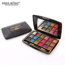 Hot Sale Miss Rose Makeup Set Palette 18 Color Glitter Eyeshadow Highlighter Eye Shadow Make Up With Brush &Mirror(China (Mainland))
