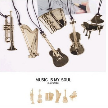6PCS/LOT 6 Styles New Creative musical instrument designs Metal Bookmark/Gold Book marks(China (Mainland))