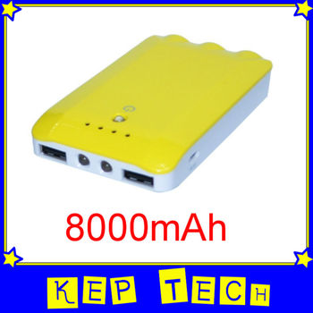 8000mAh Power Bank Backup Battery For Mobile PDA HTC Sumsung Blackberry iPhone iPad Tablet PSP Camera Free Shipping [KEP]]