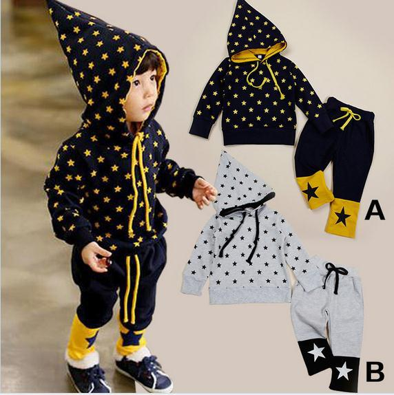 2014 new baby boy girl sports suit black long sleeve full print stars hooded tops + trousers 2pcs set kids clothing set 5set/lot<br><br>Aliexpress