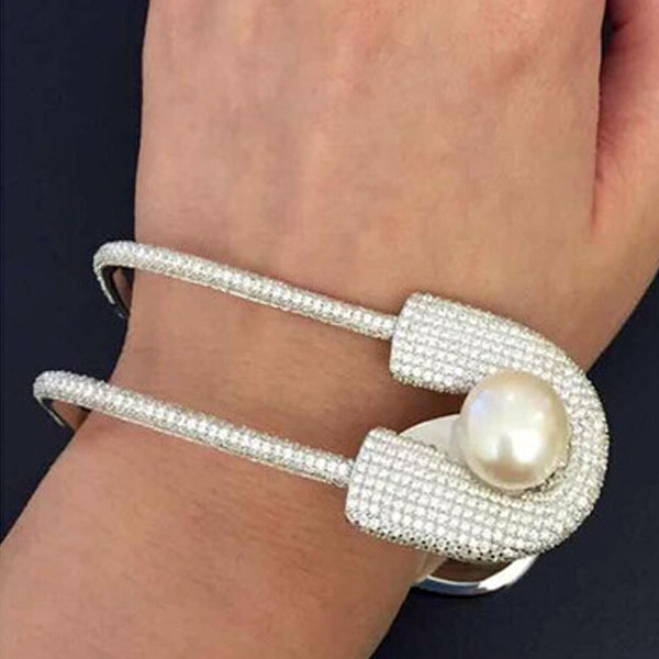 2015 big fashion unique jewelry brand bracelet U full pearl Bangles for women pin stones style two-layer cuff bracelet ring set(China (Mainland))