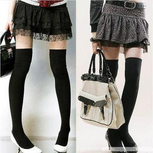 Over The Knee Socks Thigh High Cotton Sock Thinner 5 Colors Black White Light Grey Dark