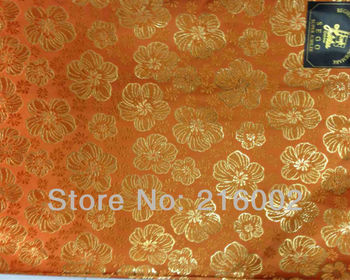 Free shipping, wholesale price, 2pcs/bag, high quality African SEGO headtie in ORANGE with gold flower pattern. elegant gele.