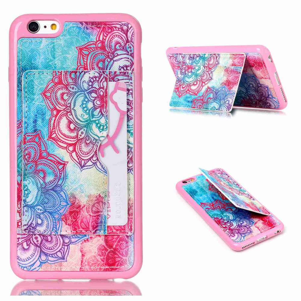 FLOVEME Art Print Artistic Colorful Pattern Leather Case For Apple iPhone 6 Flip Card Wallet Phone Cover For iPhone6 Shockproof(China (Mainland))