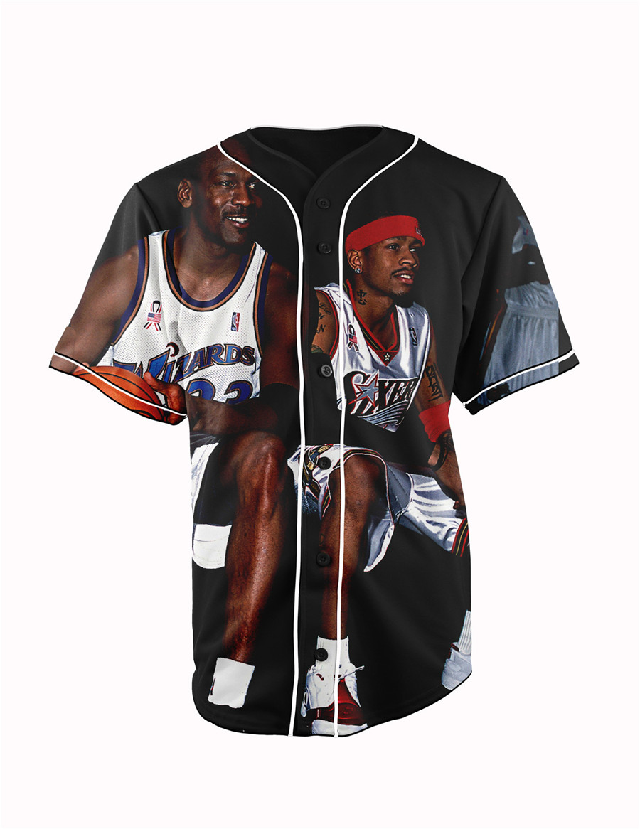 Real USA SizeIverson x Michael Jordan 3D Sublimation Print Custom made Button up baseball jersey plus size(China (Mainland))