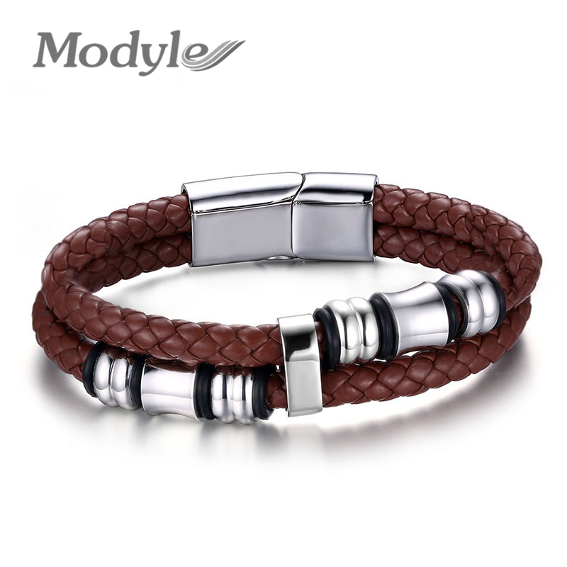 2016 New Fashion Men Bracelets & Bangles Brown Casual Style Wear Sets Men Bracelets Leather Stainless Steel Wristband Bangles(China (Mainland))