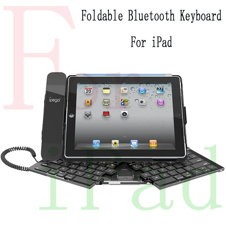 For iPad2/3 Laptop keyboard design foldable wireless bluetooth keyboard with headset use for talk and view chat 10pcs/lot(China (Mainland))