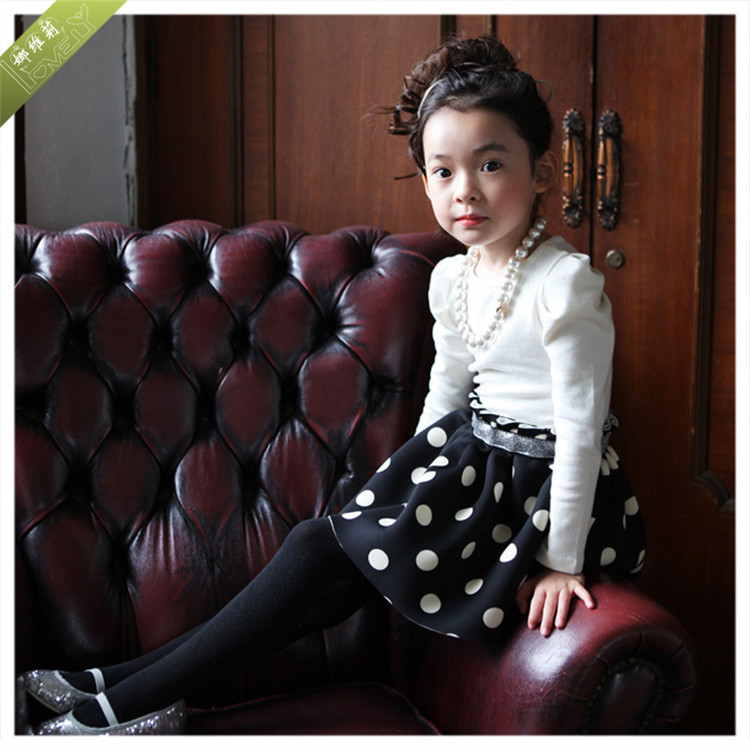 2015 autumn winter new girls dress hit color black white Polka Dot Dress children cotton material - The only love of store
