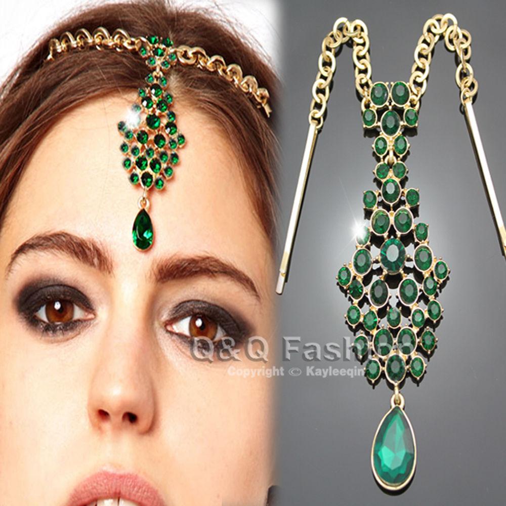 teardrop emeral crystal bindi hair clip chain tikka indian
