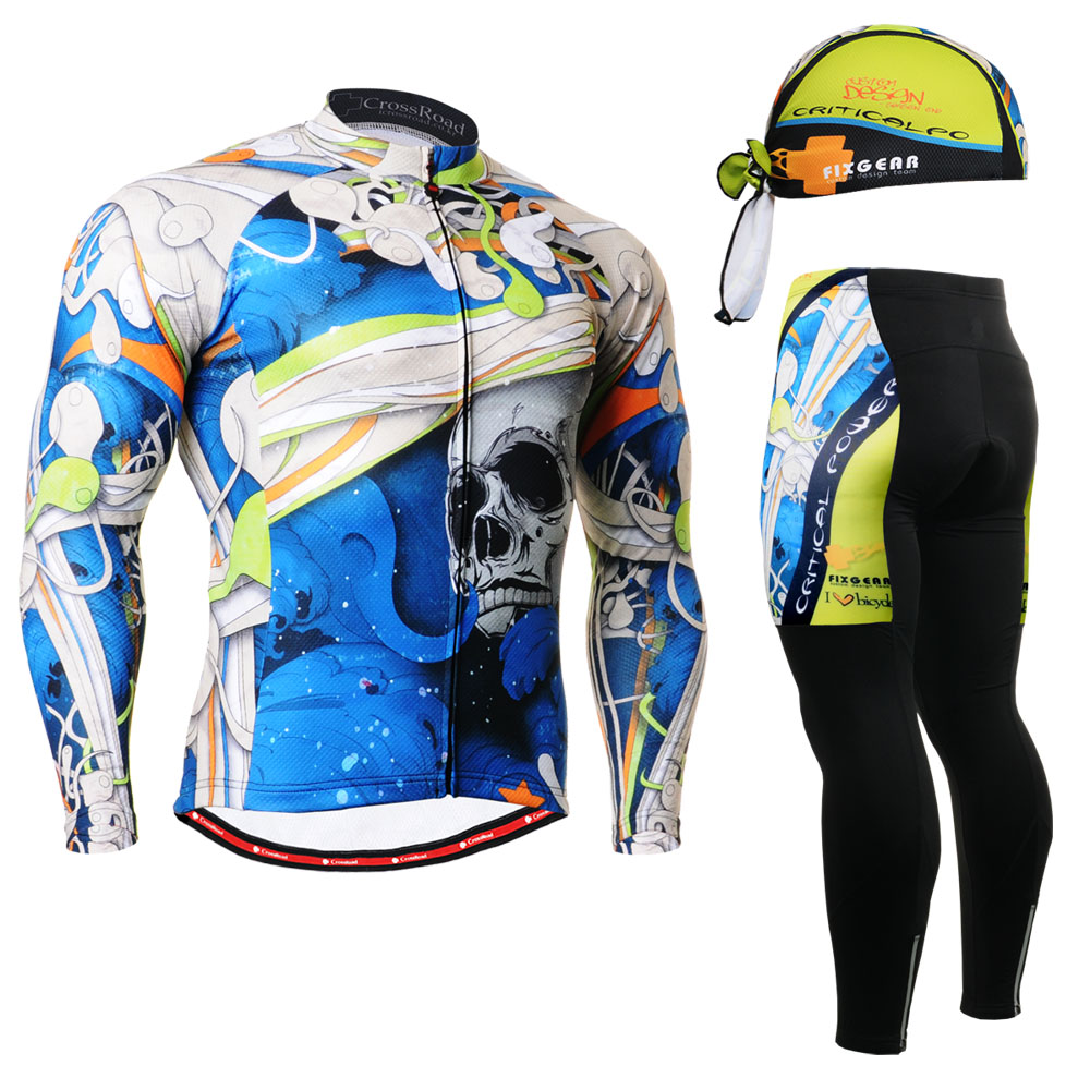 Mens Long sleeve Cycling Jersey Set Road Bike Shirt MTB Bicycle wear &amp; Padded Long Pants Tights Leggings &amp; FREE Beannie Gift<br><br>Aliexpress
