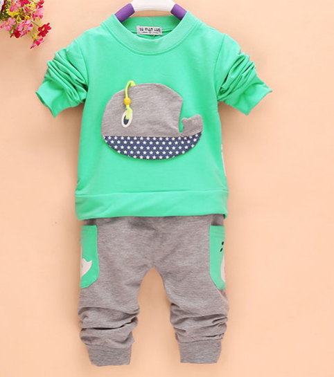 Гаджет  2Pcs Outfits Kids Baby Boys Clothes Long Sleeve Whale Tops+Long Pants Clothing Sets 1-4Y 4 Colors Freeshipping None Детские товары