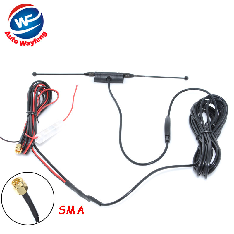 DVB-T ISDB-T Antenna Car Digital TV Antenna Aerial with a Amplifier Booster SMA connector 5M+Free shipping(China (Mainland))