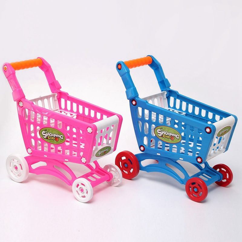 Hot Sale Mini Children Supermarket Shopping Cart With Full Grocery Food Toy Fun Prentend For Kids Children Kitchen Play Toys(China (Mainland))