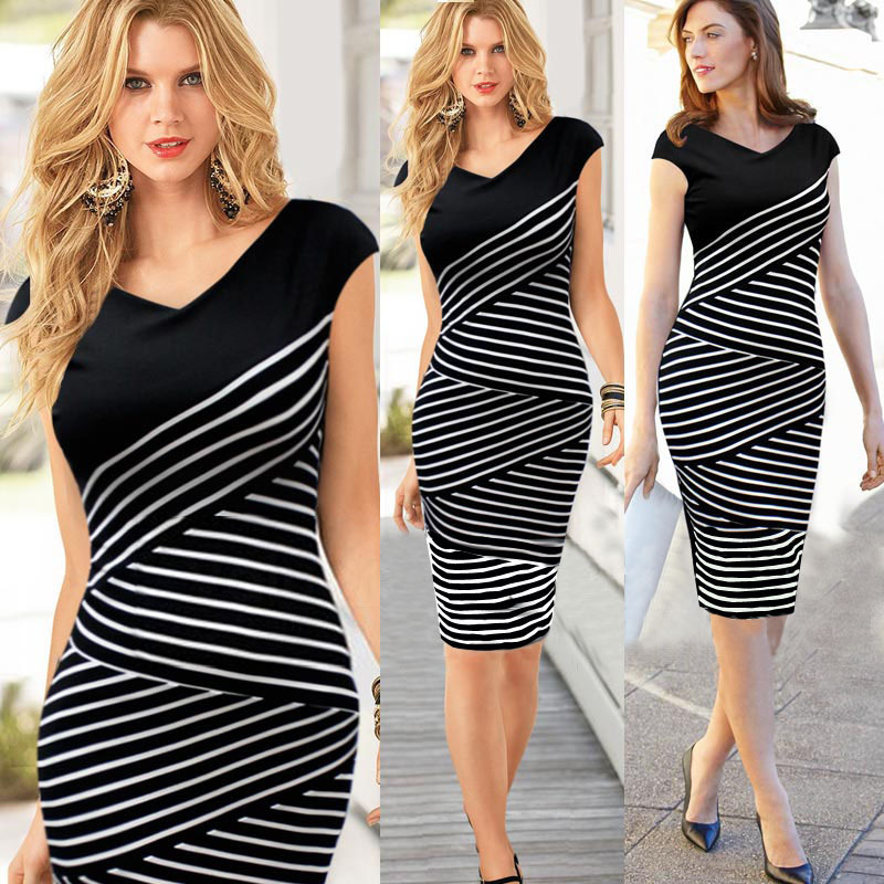women summer dress stripe v-collar patchwork slim prom bodycon dresscelebrity dresses TOP 2015wd013 - Online Store 430544 store