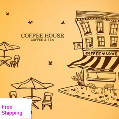 Free Shipping Coffee Shop Vinyl Wall Decal Coffee House Building Table Chairs Mural Art Wall Sticker Cafe Bar Window Decoration(China (Mainland))