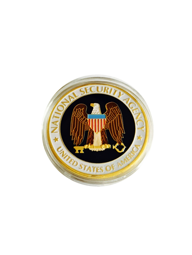 US National Security Agency Coin Colorful 24k Gold Plated Commemorative Coin NSA Challenge Coin With Eagle For Collection(China (Mainland))