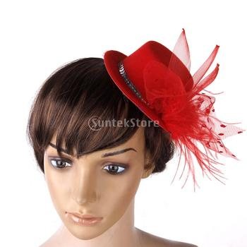 Free Shipping Ladies Hair Clip Red Feather Burlesque Punk Mini Top Hat - Red