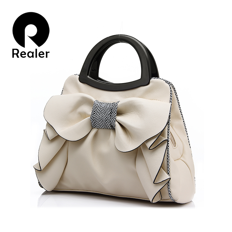 New brand women bag with large bow shoulder bags ladies designer handbag high quality black pu leather tote bag 8 colors(China (Mainland))