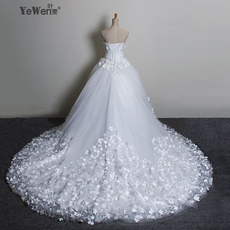 100cm train elegant plus size sweetheart flowers lace up for A big wedding dress