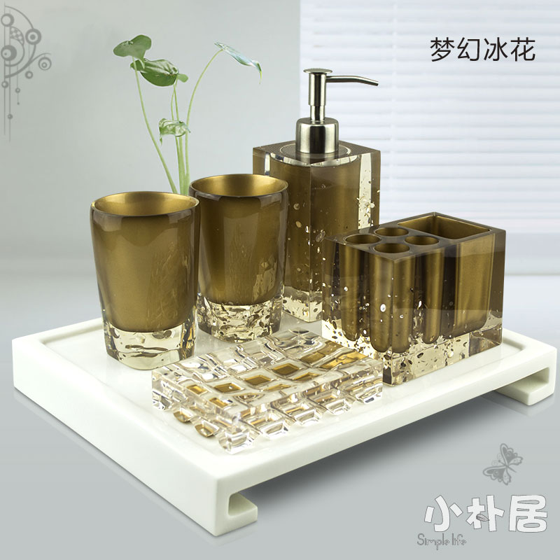 Small five pieces bathroom set wash set fashion resin for Fashion bathroom set