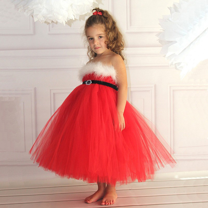 Dress kids feather tube top fluffy tulle dress with black ribbon jpg