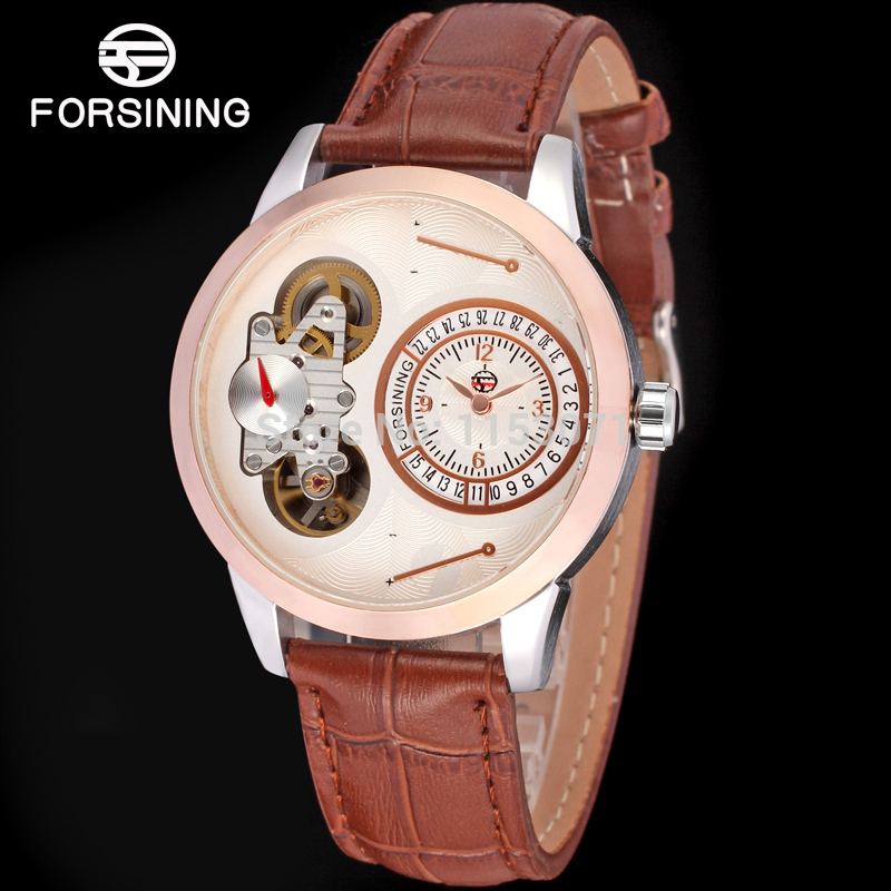 Forsining Men's Watch Double Movement Automatic Quartz Brown Genuine Leather Strap Fashion Wristwatch Color Silver FSG8015Q3T1(China (Mainland))