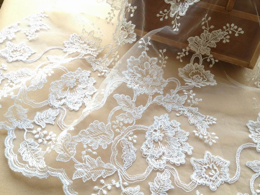 Luxury Alencon Lace Fabric Ivory Bridal Fabric For Blessing Gowns, Weddings, Veils, Altered Couture(China (Mainland))