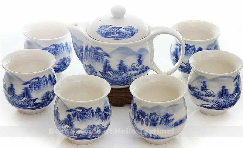 Porcelain tea set double