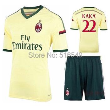 14/15 top thailand quality AC milan yellow Soccer Jersey, 2014 2015 AC milan golden soccer shirt+Embroidery Logo soccer Uniforms