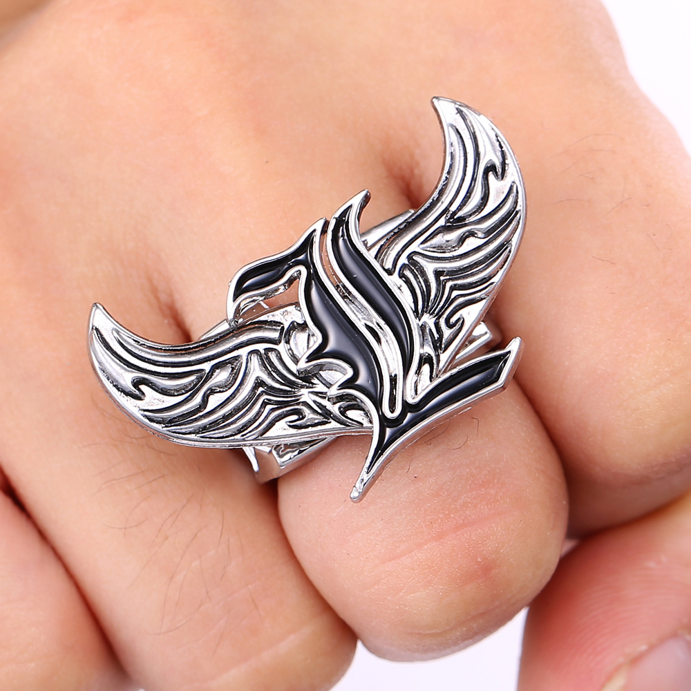 J&R Store Death Note Logo Rings for Women Rings Angel Wings rotatable Stainless ring 2015 Antique Charm High Quality Men Jewelry(China (Mainland))