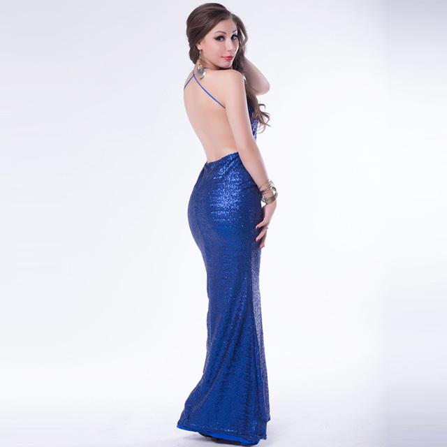 R7890 опт и розница женщины одеваются вечер лучшие продажи длинные летнее платье спинки блесток светит ремешками длинное платье