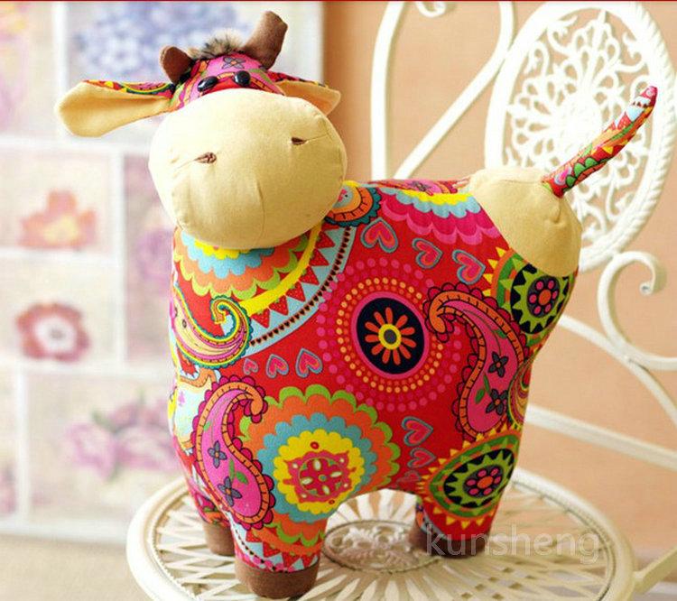 Large cow plush cloth dolls ethnic children's toys birthday gift home decoration(China (Mainland))