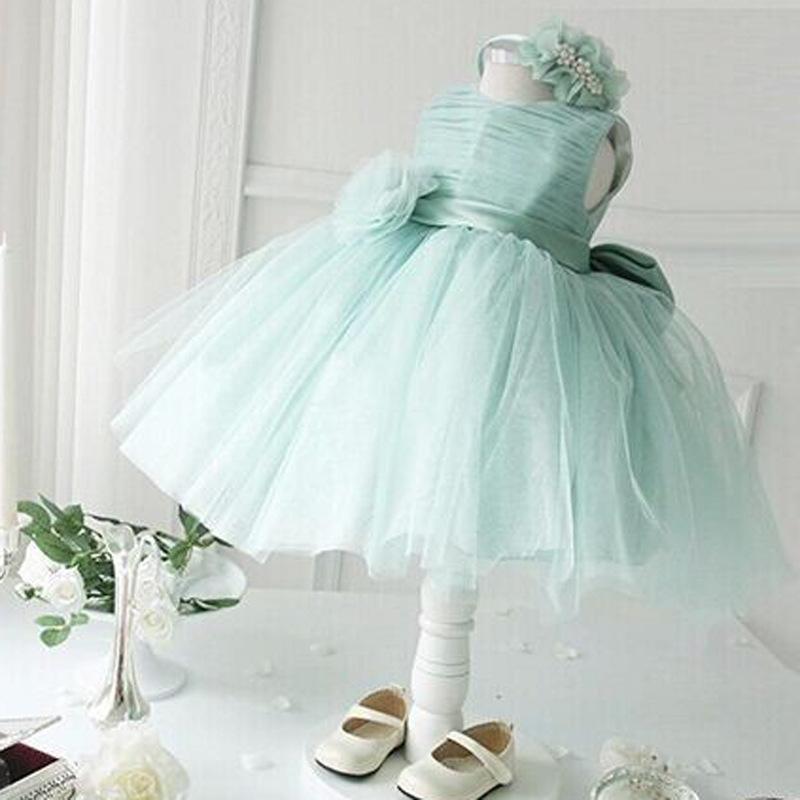 Baby Girl Mint Green Tulle Tutu Princess Flower Girl Dress 4 Colors(China (Mainland))
