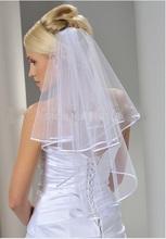 veu de noiva bianco due strati velo da sposa corto velo da sposa con pettine veu de noiva curto(China (Mainland))