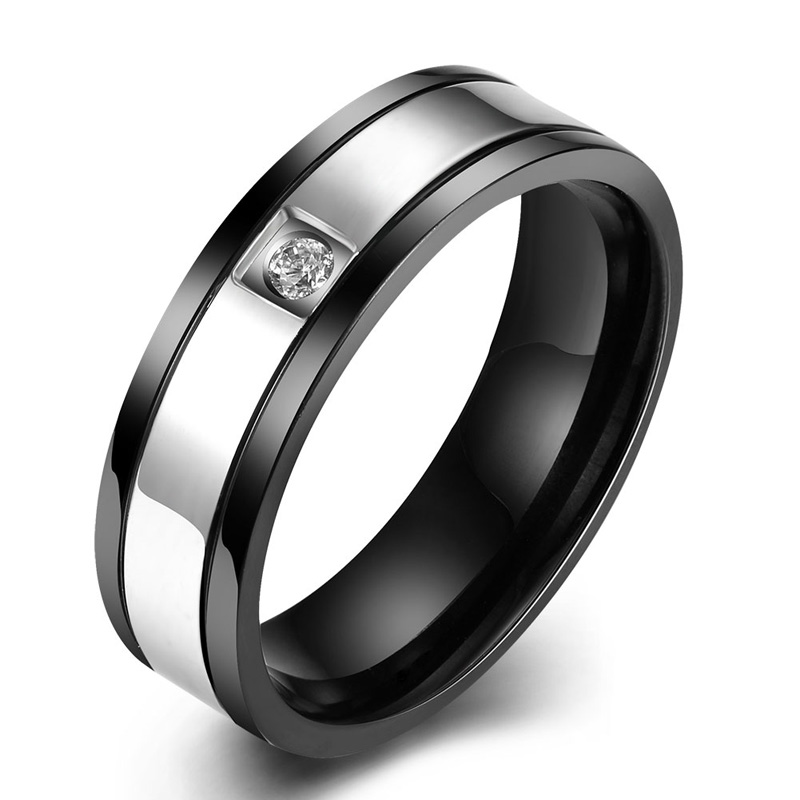 Male CZ Crystal Stainless Steel Rings For Men Black Gold Plated Titanium Zircon Engagement Finger Rings Jewelry Wholesale 2016(China (Mainland))