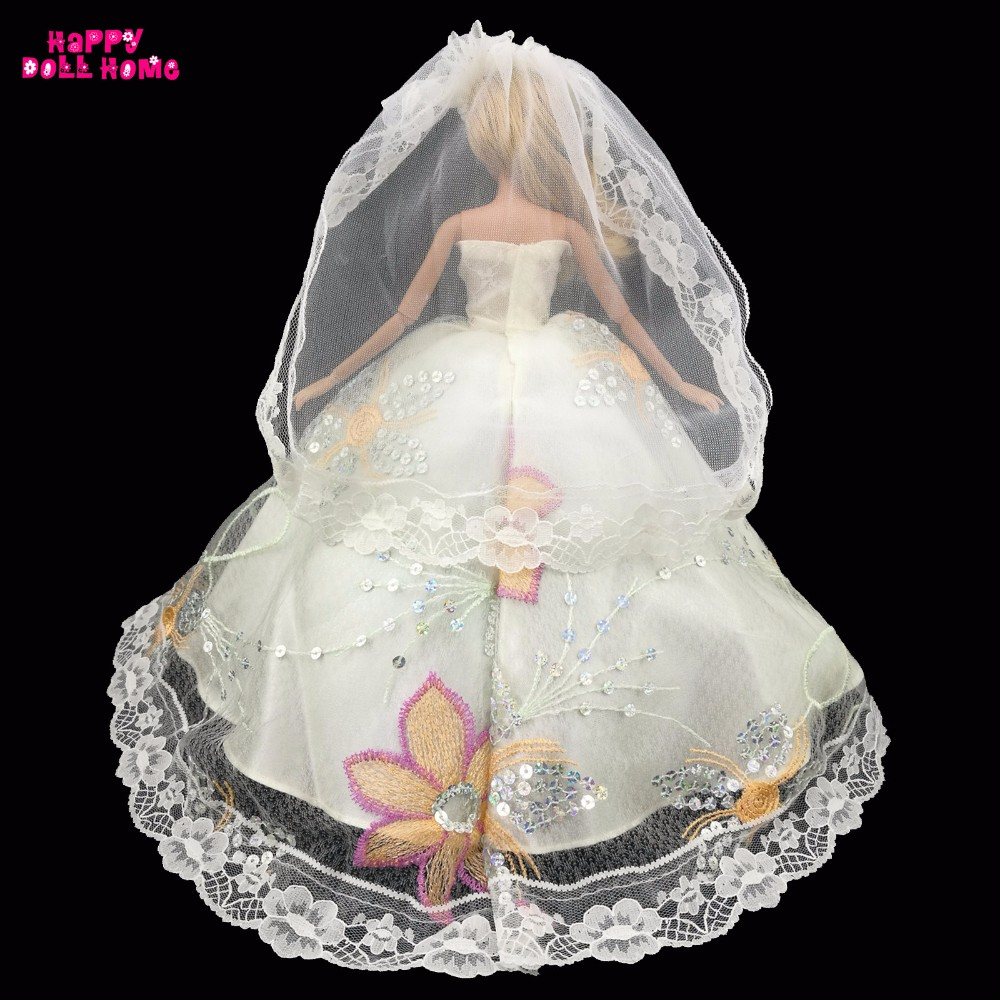 Marriage ceremony Social gathering Costume Princess Sequin Robe Bridal Veil Lace Costume For Barbie Doll Garments Dollhouse Equipment Toys Child Present