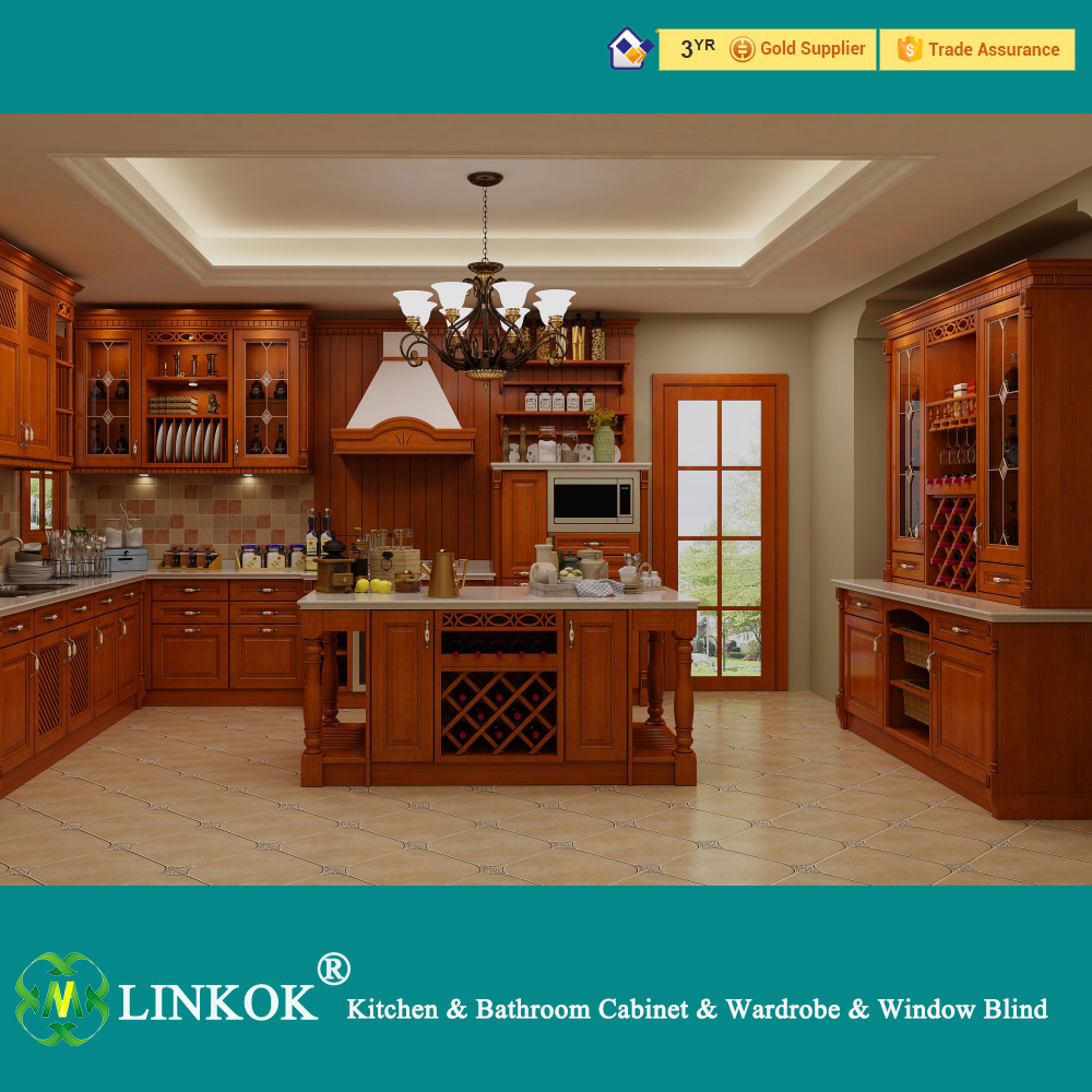 Linkok furniture 18mm playwood carcass lacquer coating surface waterproof custom teak kitchen cabinetsmahogany kitchen cabinet price